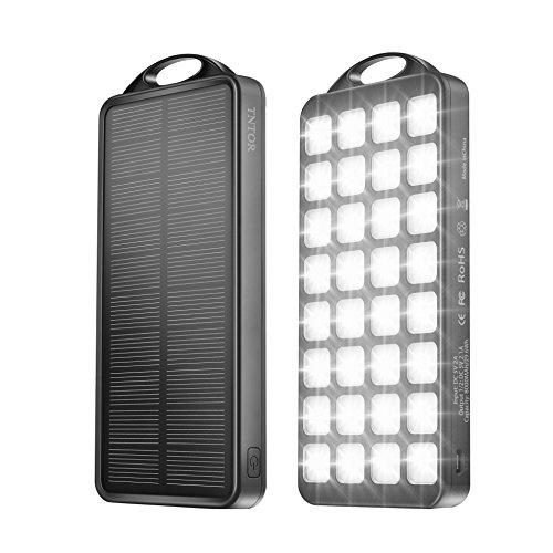 Energie Sparen 4 Licht (Outdoor Solar Ladegerät, 8000mAh Sonnenkollektor Dual USB mit 32 LED Lichter [4 Beleuchtungsmodus:Hervorgehoben. Energie sparen.Warnlicht.SOS][TNTOR®]Power Bank für Camping Abenteuer.Farbe[Schwarz])