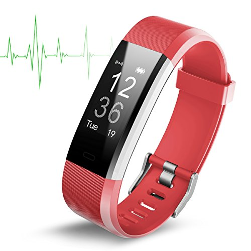 Smart watch impermeabile (ip67) con monitoraggio attività, cardiofrequenzimetro. fitness tracker, schermo oled da 0,96 pollici, bluetooth 4.0, pedometro. smartwatch wireless con ricarica usb, braccialetto, uomo, red