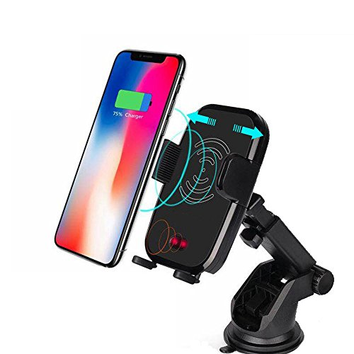 Kobwa ricarica automatica qi wireless caricabatteria da auto, supporto e ventilazione porta cellulare culla per iphone x 8/8plus samsung galaxy s9plus s8s7edge e dispositivi abilitati qi 4 parts