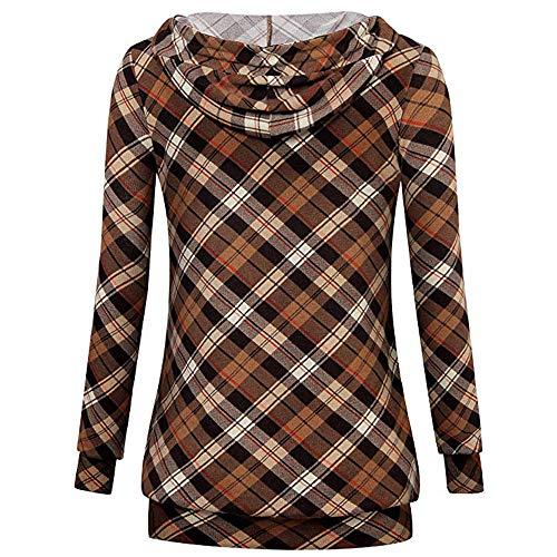 Honestyi Mode lässig Damen Langarm Sweatshirt Pullover Pullover drucken Bluse Lässiges Damen Sweatshirt mit kariertem Print(Kaffee,XXL)