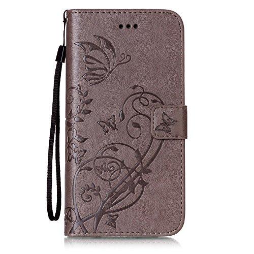 Voguecase Pour Apple iPhone 7 Plus 5,5 Coque, Etui Housse Cuir Portefeuille Case Cover (Campanula fleur-blanc et pink)de Gratuit stylet l'écran aléatoire universelle Papillon VI-Gris