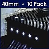 Pack of 10 - MiniSun 40mm Cool White LED Round Garden Decking / Kitchen Plinth Lights Kit - IP67