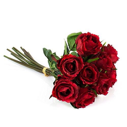 artplants Künstlicher Rosenstrauß Molly mit 10 Rosen, rot, 35 cm, Ø 20 cm – Künstliche Rose/Blumenstrauß künstlich