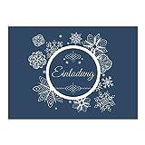 15 x Einladungskarten mit Umschlag zur Weihnachtsfeier/Motiv: Blau mit Schneeflockenmuster/Weihnachten/Christmas Party/Einladung/für Firmen