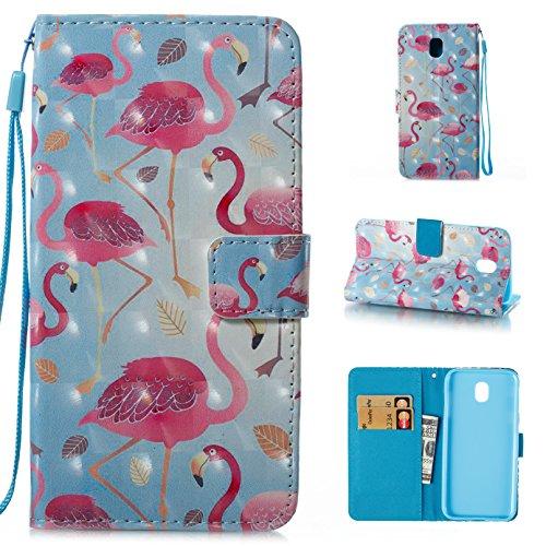 starcity Schutzhülle für Galaxy J5Pro j530gm/DS (2017), 3D PU Leder Folio Flip Stand Cover Wallet Case mit Kreditkarten Taschen für Samsung Galaxy J5Pro (2017) sm-j530F/DS, 3D#Flamingo (Ds Stand)