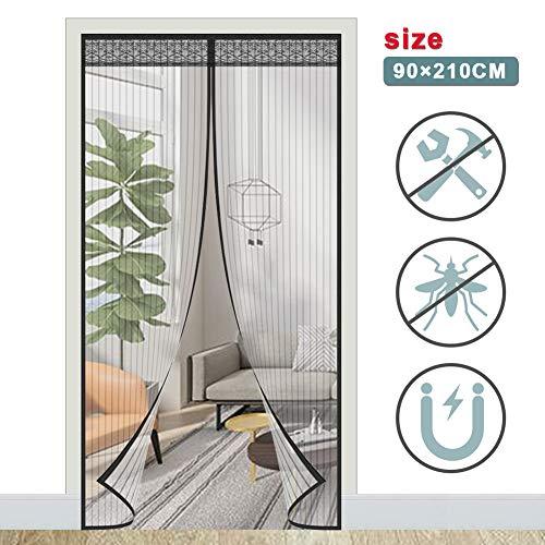 ACTOPP Magnet Fliegengitter Tür Insektenschutz Fliegenvorhang 90 x 210 mit 28 Stück Magneten Moskitonetz Tür Magnetvorhang für Wohnzimmer Balkontür Terrassentür Kinderleichte Klebemontage Ohne Bohren