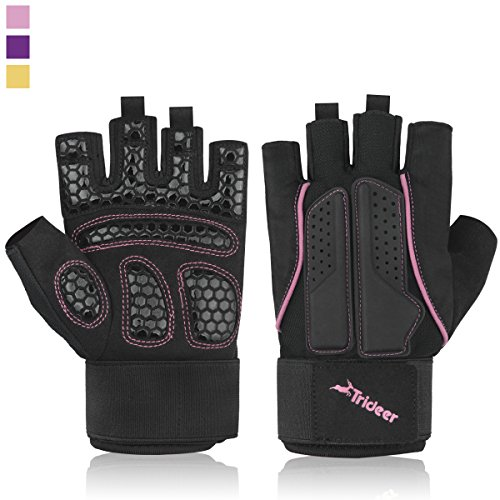Trideer-Breathable-Ultralight-Padded-Weight-Lifting-Gym-Gloves-Half-Finger-Fingerless-Multi-Colored-Lines-Microfiber-Material-and-Silica-Gel-Padded-Grip-Anti-slip-Gloves-Available-in-3-ColorsGolden-Pi