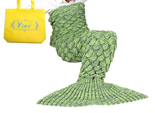 Yier® Meerjungfrau Endstück Häkeldecke für Erwachsen Teens Jugendliche Wohnzimmer Schlafzimmer Sofa Super weiche Skalen Decken Schlafsack-Gras - Für Erwachsene Halloween-kostüme Kreative