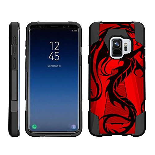 �lle für Samsung Galaxy S9+ / S9 Plus Hülle - Dynamic Shell - Hybrid Dual Layer Hard Shell Stand Silikon Case -, Red Dragon ()