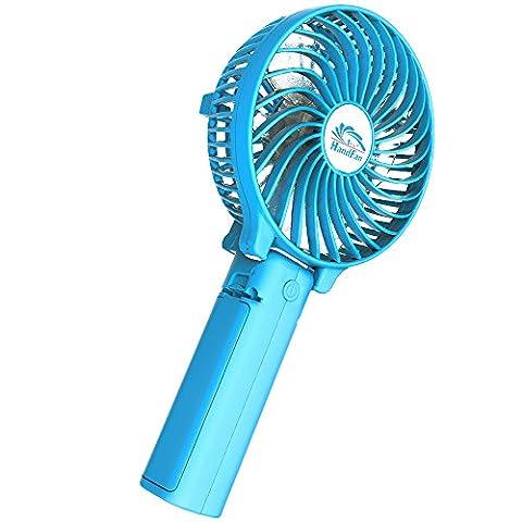 Hand Ventilatoren USB,HandFan mini Ventilator leise Ventilatoren mit batterie, 2000 mA Akku, Einstellen Rotationsgeschwindigkeit,Tragbarer/Faltbar ventilator für Reisen und Zuhause(blau)