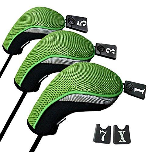 Andux 3 Packung golf holz Schlägerkopfhüllen Eisen hauben austauschbar Nr. Etikett MT/mg05 schwarz/grün -