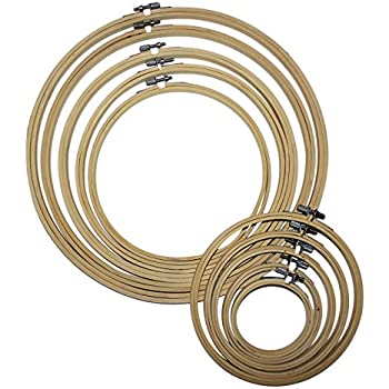 KA MAI KA Stickrahmen 7 Pack Bambus Kreuzstich Hoop Set Runde einstellbare Stickerei Kreis Set Nadel Einf/ädler und Nahttrenner f/ür DIY Kunst Handwerk