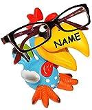 alles-meine.de GmbH Brillenhalter -  lustiger Vogel - Tukan / Papagei Ara / Hahn - Gockel  - incl. Name - stabil aus Kunstharz - universal Größe - für Kinder & Erwachsene / Bri..