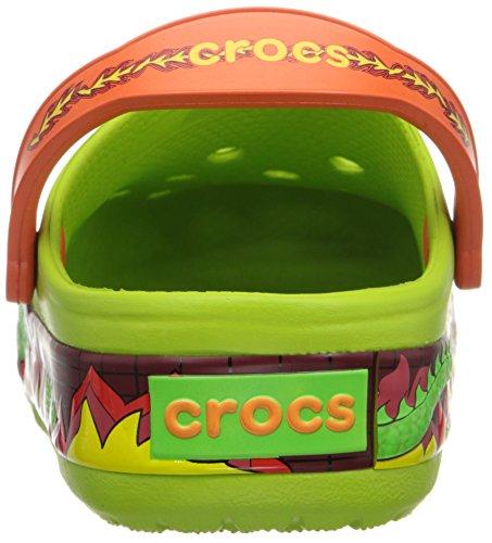 Crocs Lights Fire Dragon Clog K Sandali a punta chiusa, bambini Verde (Volt Green)