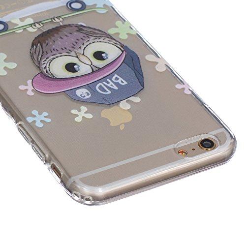 Apple iphone 6 Plus Hülle, iphone 6s Plus 5.5 Zoll Silikon Gel Schutzhülle, Ekakashop iphone 6s plus Weiche TPU Ultradünn Slim-Fit Smartphone Handyhüllen Tasche Back Cover Bumper, Transparent Crystal  Comic-Eule