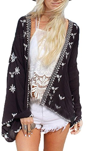 Uniquestyle Damen Sommer Boho Chiffon Kimono Stil Gedruckt Tops Jacke Cardigan Blusen Beachwear(One Size Schwarz) Le Top Jacke