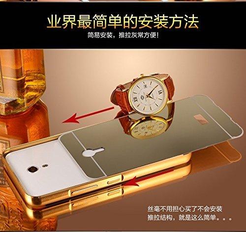 Badhiyadeal Luxury Metal Bumper Acrylic Mirror Back Cover Case For Lenovo Zuk Z1 - Gold