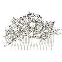 EVER FAITH® Austrian Crystal Flower Leaves Bride Hair Comb Silver-Tone N00147-1