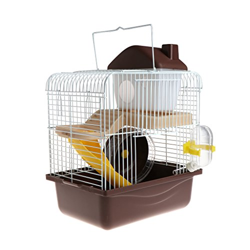 SLYlive Cage pour hamster 2 étages,Cage Hamster Habitat,23cmx17cmx30cm (Café)