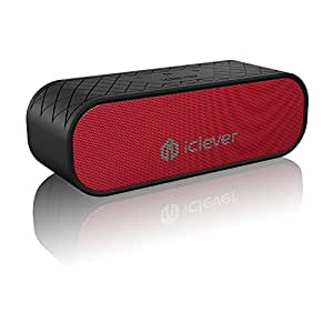 Bluetooth Speakers, iClever Wireless IPX5 Waterproof Speaker(Bluetooth 4.2 , 20W Dual-Driver, 12H Playtime. Bulit-in Mic) with Two Subwoofers for iPhone, iPad, Samsung, Echo, Nexus, HTC, Laptops and More, Red