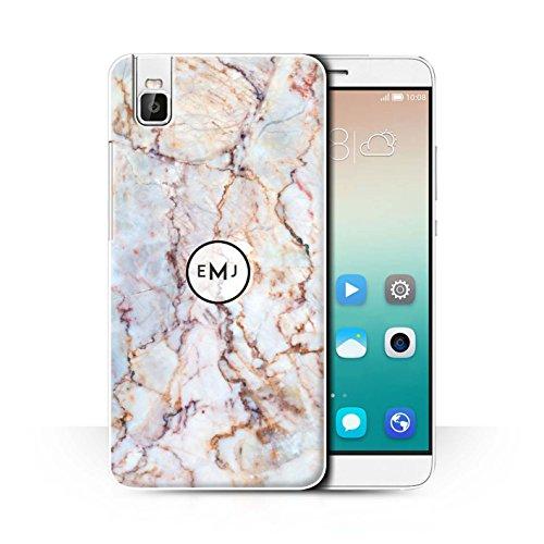 Stuff4® Personalisiert Personalisiert Marmor Hülle für Huawei Honor 7i/ShotX/Muschel Emblem Design/Initiale/Name/Text Schutzhülle/Case/Etui