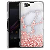Sony Xperia Z1 Compact Hülle Case Handyhülle Glitzer Look Marmor Pink