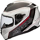 Shox Assault Tracer Integral Motorrad Helm M Weiß/Schwarz/Rot