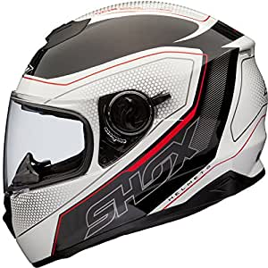 Shox Assault Tracer Casque Moto Intégral XS Blanc/Noir/Rouge
