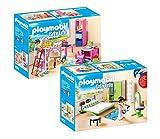 Playmobil Casa Moderna Set: 9270 Habitación Infantil + 9271 Dormitorio