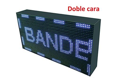 Schild LED programmierbar mit Sensor Temperatur- und Text-Uhr/Programmierbar Schild/Display programmierbar/Display/Programmierbare LED Leuchtreklame/Elektronische Uhr/Wimpelkette 64x32 doble cara - Leuchtreklame Uhr