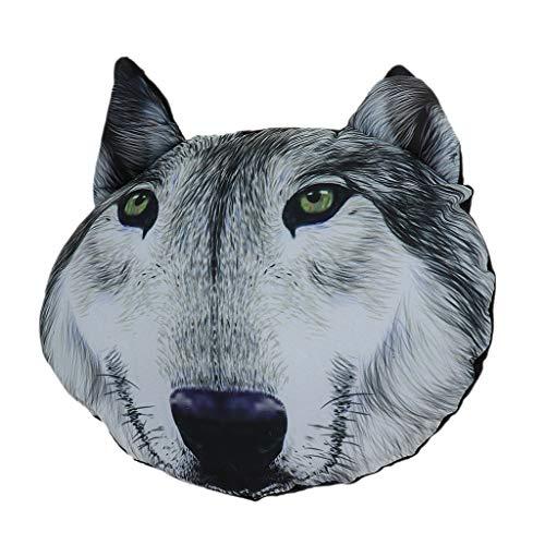 F Fityle 3D Karikatur Tier Muster Autositz Kopfstütze Kissen Nackenstütze Auto Nackenkissen, mit Kohle-Tasche, aus Polyester und PP Baumwolle - Wolf König -