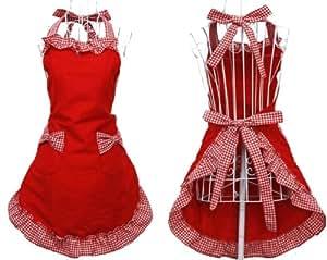 Outop rot Küche Mode süßen Sweety Baumwolle Muster Doppel Rasterfarbe arbeiten Küche kochen Cook Flirty Schürze mit Schleife Design Taschen für Frau Töchter Damen