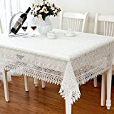 TWTIQ Weiße Spitze Tischdecke Hochzeitsdekoration Transluzente Tischdecke Bestickte Tischdecke Tee Tischdecke Dinning Floral Tischdecke Weiß 60x60cm