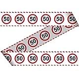 Absperrband 50. Geburtstag Jubiläum Warnband Verkehrsschild 15m Dekorationsidee