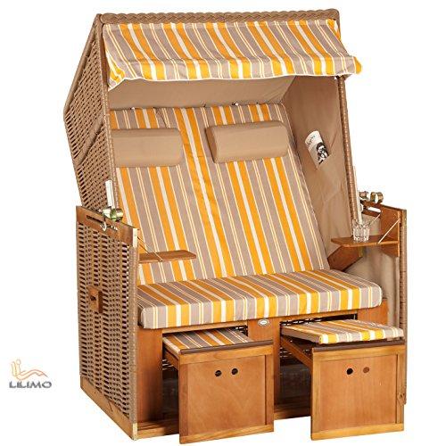 das wohnwerk Zweisitzer Strandkorb Nordsee de Luxe - Exklusiv für Amazon im Komplettset - mit Schutzhülle + 4 Kissen! 5