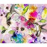decomonkey | Papier peint intissé Fleurs Oiseau 300x210 cm XL Trompe l oeil | Déco Mural Tableaux Muraux Photo Colibri Abstrait Abstraction coloré