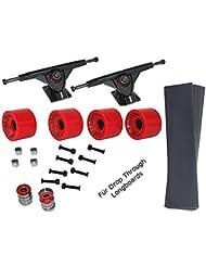 Lot de 4 roues de longboard rouge 70 x 50 x 8 mm/80A roulement à billes aBEC - 7 vis-produit neuf