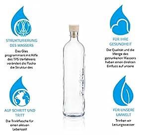 Flaska Trinkflasche Wasserflasche Glasflasche - 0,75 Liter zum regelmäßigen Wassertrinken + 2 Korken