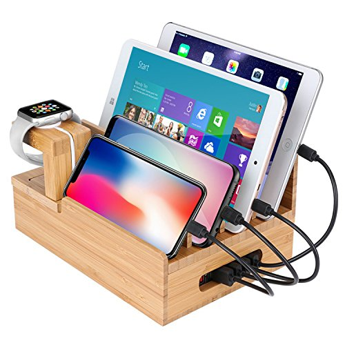 Mobile Phone Accessories Hotel For Phones Tablets Charging Desktop School Office Wear Resistant Multi Device Holder Bamboo With Slots Organizer Travel Mobile Phone Holders & Stands