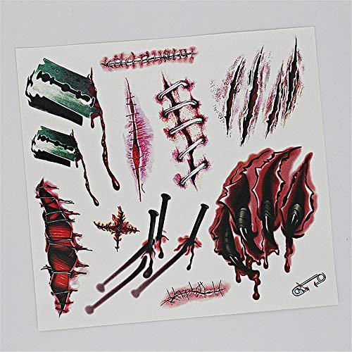 Jyjsym halloween, adesivi per tatuaggi impermeabili/adesivi per le cicatrici/abiti da festa/spiriti maligni/zombie / ferite/adesivi per tatuaggi 3d, yk002