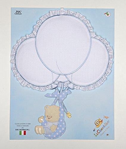 Fiocco nascita palloncini da ricamare con orso in fasce azzurro