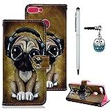 Edauto Huawei P Smart Hülle Leder Case Handyschale Handycase Tasche Handyhülle Schutzhülle Ledertasche Wallet Bookstyle Ständer Kartenfächer Magnetisch Cover Hund