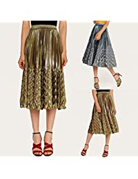 151b76a76e zkLegencQ Women's Skirts-Fashion Women Metallic Solid Color High Waist  Elastic Arrow Pleated Midi Skirt