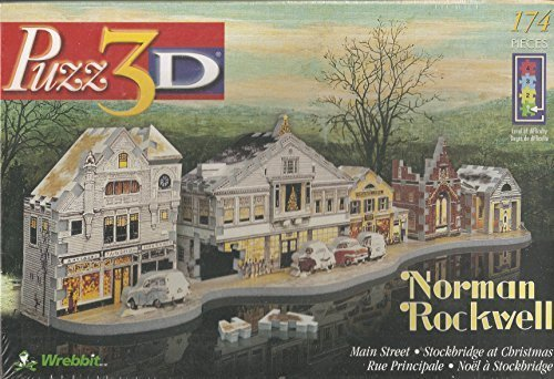 Puzz3D Norman Rockwell Main Street - Stockbridge at Christmas 174 Piece Puzzle by Wrebbit (English Manual)