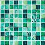 Ecoart Decorativos Adhesivos para Azulejos Pegatina de Pared, Azulejos de Gel, Diseño de Mosaico de Cactus, Efecto 3D, Autoadhesivo, para Baño y Cocina, 25.4cm*25.4cm, 6 Piezas por Paquete