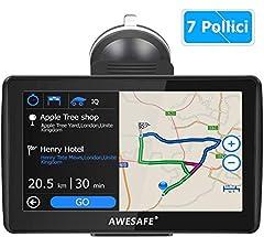 Idea Regalo - Navigatore Satellitare Auto, 7 Pollici GPS per Auto Moto Mappa dell'Europa Precaricata più Recente, Avviso Traffico Vocale, Limite di Velocit, POI, Rubrica, Pianificazione intelligente del percorso