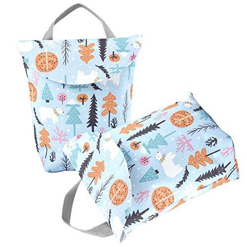 Baby Stoffwindel Tasche (2 PCS), Wasserdichte Babywindel Tasche mit Versiegeltem Design, Tragbare Aufbewahrungstasche für Baby-tägliche Versorgungsmaterialien