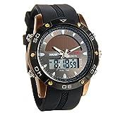 Avaner Herren-Uhr Armbanduhr Sports Chronograph Hintergrundbeleuchtung Solarenergie Solar Digital Analog Dual Zeitzonenanzeige Multifunktions-Armbanduhr Männen Uhr