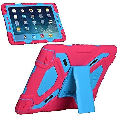 IPad Air 2, iPad 6 custodie protettiva, ELECDAY Tablet Apple, in Silicone, con protezione per lo schermo, antiurto, antipolvere, a prova di bambini, impermeabili, anti-All-round, per i Pad Air2 Pads 6/i [] Scheda ELECDAY protezione Rose/blue - Gunmetal Scheda
