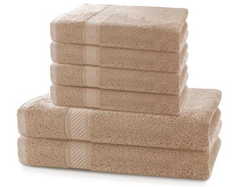DecoKing 6er Set beige Baumwolle 4 Handtücher 50x100 cm und 2 Badetücher 70x140 cm Duschtücher Baumwolle Bambus Viskose saugfähig antibakteriell Bamboo Bamby Cappuccino -